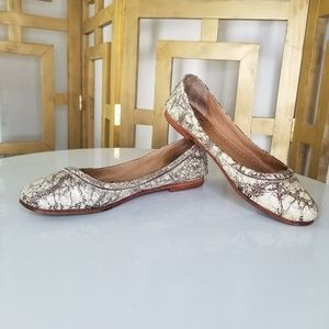 Frye Carson Metallic Leather Ballet Flat Shoe 9